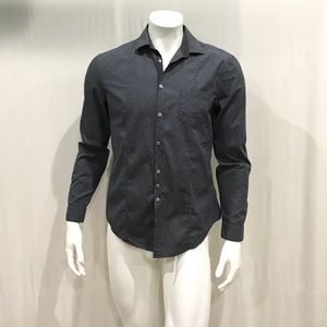 John Varvatos Men's Gray Textured Button Shirt